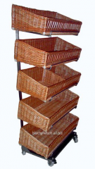 Shopping trolley with baskets of wicker bread and