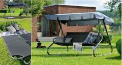Huśtawka ogrodowa Umbria - tekstylina + dach - rozkładana