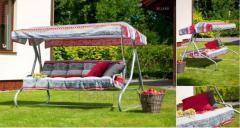 Huśtawka ogrodowa Milano z kompletem poduszek + dach - rozkładana