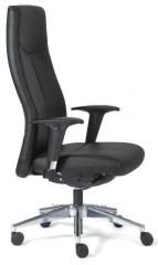 Ergonomiczny, gabinetowy fotel obrotowy XL5910 o nowoczesnej sylwetce tapicerowany w czarnej skórze.