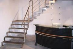 Stairs with stainless steel elements, railings,