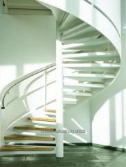 Spiral staircase with a steel structure, perfect