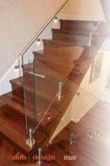 Banister made from float glass, frosted glass