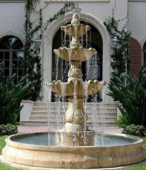 Attractive setting the home garden, fountain