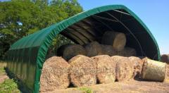 Hall on the balls of hay with a width of 8 meters,