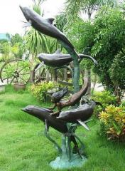 Bronze fountain with dolphins SIREN 220cm