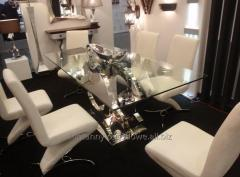 Glass table in the style of a la Coco Chanel