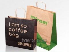 Paper bags for shopping made of grey colour or