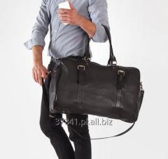 Stylowa męska torba podróżna skórzana z paskiem na