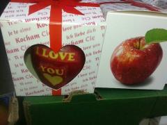 Jabłka walentynkowe z napisem I love you