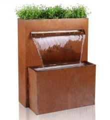 3w1 Fontanna Postarzana rdzawa donica, ścianka wodna do ogrodu zimowego, tarasu, restauracji