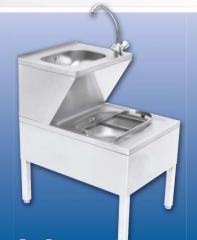 Wash basin with a sink from stainless steel