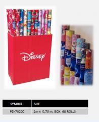 Papier prezentowy w rolce Disney, 58g/m2, pakowany w karton.