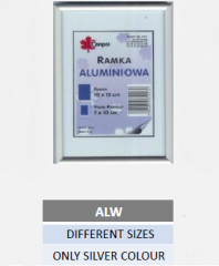 Aluminium photo frames in different sizes, only