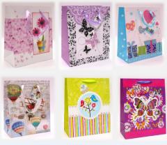 Paper bag matt lamination, ribbon, glitter, 3D