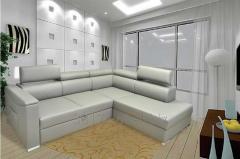 Nowoczesny, o prostej linii, narożnik z otwieranymi zagłówkami i funkcją spania, kanapa narożna z pojemnikiem na pościel, dostępna w wielu kolorach i typach tkanin.