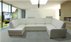 Narożnik modułowy LAURA daje możliwość ustawienia go w wielu kombinacjach, np. w kształcie podkowy, sofa modułowa dostępna jest w wielu kolorach tkanin i skór naturalnych i ekologicznych.