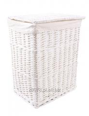 Biały wiklinowy kosz na pranie