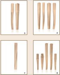 Nogi drewniane frezowane do mebli.