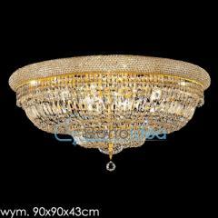 Plafon kryształowy złoty Ronald średnica 90 cm