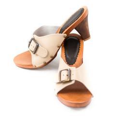Drewniaki,klapki,buty,damskie,skóra naturalna,zamsz,podeszwa drewno olchowe wz 061