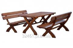 Zestaw mebli Bawarskich stół i dwie ławki z litego drewna świerkowego MD