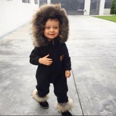 Kombinezon dziecięcy czarny z polaru