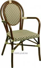 Krzesło do kawiarni z technorattanu Lucca-A brązowo beżowe