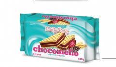 Delikatne wafle z nadzieniem karmelowym i kakaowym Chocomello 220g