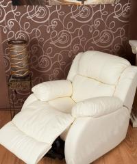 Obrotowy skórzany fotel + relaks + bujanie RELAX