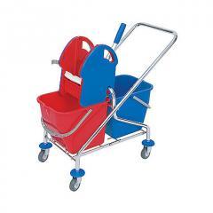 Wózek 2 wiadrowy z uchwytem płaskim kombi
