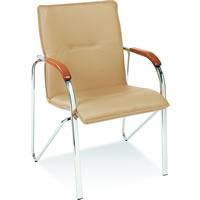 Krzesło goŒcinne Samba beżowe nakładki ciemnoorzechowe