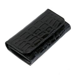 Duży czarny damski portfel lakierowany krokodyl Cavaldi
