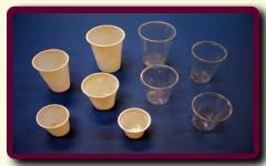 Kubki do napojów zimnych; materiał PS; kolor biały