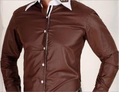 Koszula męska z przeszyciami SLIM FIT - brązowa