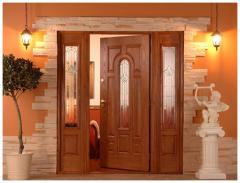 Drzwi drewniane Parlament Witraż