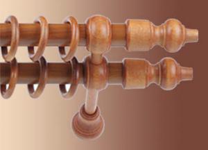 Karnisz drewniany podwójny czereśnia rurka metalowa oklejona