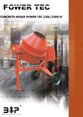 POWER TEC 220L/230V/K (przechył na korbę) - Zaawansowane betoniarki o zwiększonej wytrzymałości.