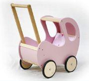 Wózek dla lalek malowany z misiem, na gumowanych