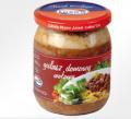 Smaczny, szybki dodatek - rozdrobnione mięso wołowe w sosie z dodatkiem przypraw naturalnych - do ziemniaków, kaszy, makaronu. Doskonale smakuje również na zimno. Wyprodukowany bez konserwantów.