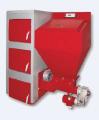 Stalowy, wodny kocioł grzewczy z automatycznym zespołem podawania paliwa, koszem zasypowym oraz aparaturą sterującą.