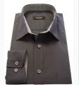 Koszula męska długi rękaw ciemny popiel z kontrastem