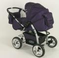 Wózek VIP fioletowy. Trójfunkcyjny (gondola, spacerówka z pasem pięciopunktowym, fotelik samochodowy)  wózek z regulowaną rączką i znakomitą amortyzacją. W komplecie: moskitiera, torba i pokrowiec przeciwdeszczowy.