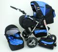 Wózek VIP czarny szafir.  Gondola +  spacerówka + torba.