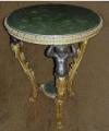 Stół figuralny z pozłacanym marmurowym blatem
