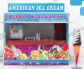 Przyczepa do sprzedaży lodów z automatu, gofrów i soków