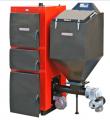 Łatwy w obsłudze kocioł  KWM-SGR wyposażony w automatyczny podajnik i zbiornik paliwa