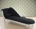 Srebrny szezlong z czarną tapicerką, stylowa sofa drewniana