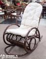Rattanowy fotel bujany lfi4559 ciemny brąz