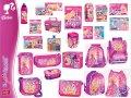 Produkty szkolne z licencji Barbie- tornistry, plecaki, worki, piórniki, śniadaniówki, bidony, zestawy śniadaniowe, kuferki kartonowe,teczki, bloki, kredki, zeszyty, notatniki, wycinanki, farby, segregatory, pióra, ołówki, długopisy.